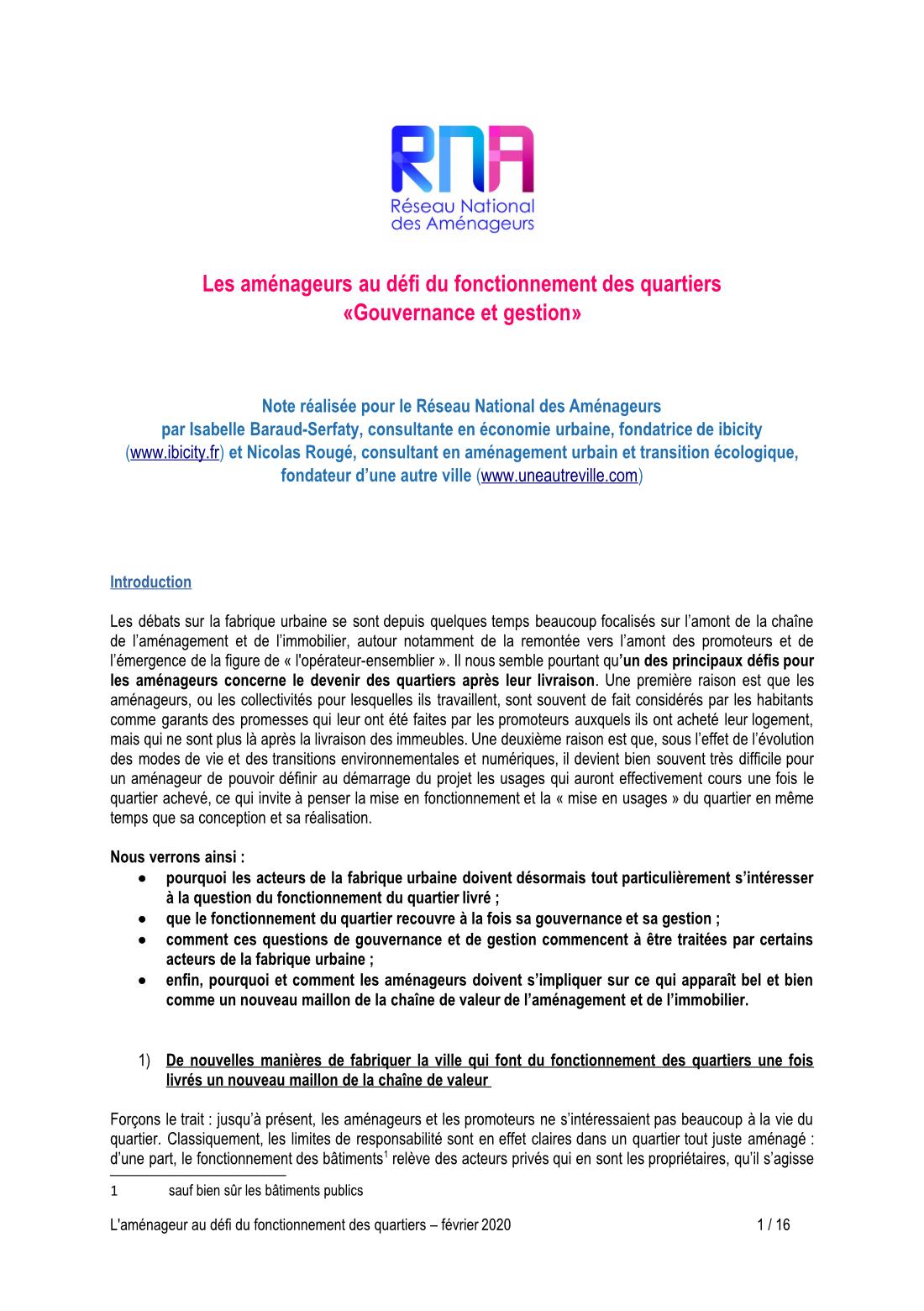 Les aménageurs au défi du fonctionnement des quartiers : gouvernance et gestion