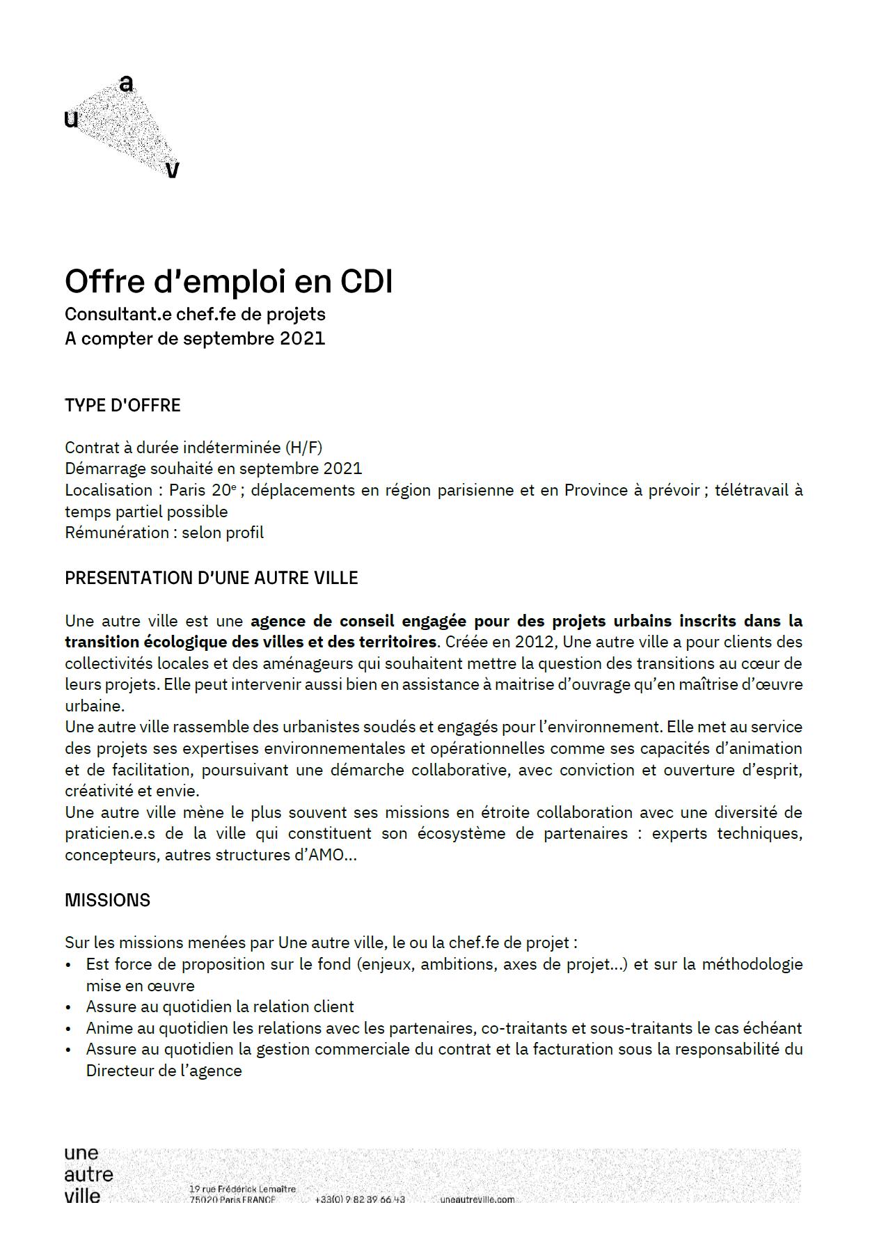 Offre d'emploi en CDI - Consultant.e chef.fe de projets (à compter de septembre 2021)